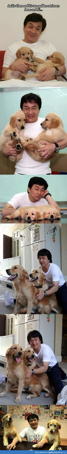 Jacky chan is a dog lover