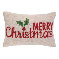 Peking Handicraft Merry Christmas Holly Hook Wool Throw Pillow