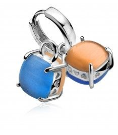 Zinzi zilveren creoolhangers oranje blauw ZICH667B