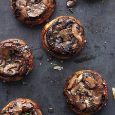 Upside-Down Mushroom Tartlets with gruyere and fresh thyme #vegetarian #recipe