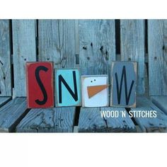 Primitive SNOWMAN wood block set simple . . . great addition to your Winter…