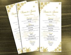 DIY Wedding Menu Microsoft Word Template - Winter Gold Snowflakes for Weddings and Events