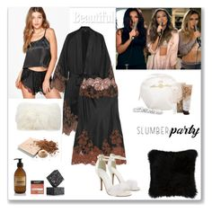 """Slumber Party"" by ludmyla-stoyan ❤ liked on Polyvore featuring Boohoo, Carine Gilson, Mina Victory, Natural by Lifestyle Group, ZENTS, Mary Kay and slumberparty"