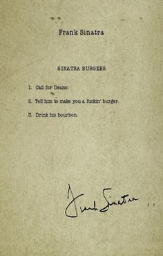 Frank Sinatra's Hamburgers @gabrielle Richards