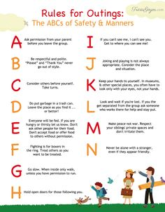 Rules for Outings: The ABCs of Safety and Manners {+ FREE printable} - Tricia Goyer : Great advice for helping your kids stay safe and act politely as you explore the world together! Parenting Advice, Kids And Parenting, Peaceful Parenting, Safety Rules For Kids, Child Safety, Manners For Kids, Teaching Kids Manners, Etiquette And Manners, Kids Behavior