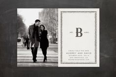 Mr + Mrs Monogram Save the Date Postcards by Vellum and Vogue at minted.com
