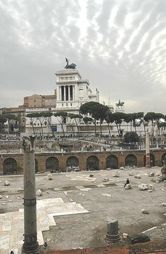 "This is a view from the ""Foro Traiano"", the latest and formerly greatest of the Rome Fora (constructed in the 2 century AC), on the monument of the king Vittorio Emanuelle II on the Capitol hill, fully completed in 1935."
