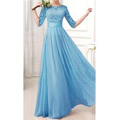 Rotita Blue Lace Splicing Maxi Chiffon Prom Gown
