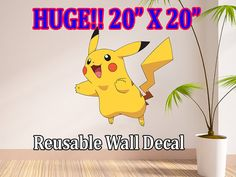 Pokemon Pikachu Removable Reusable Wall Decal Wall by StickyMania