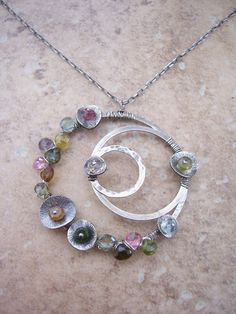 Orbits Necklace  with Tourmaline by dnajewelrydesigns on Etsy, $94.00