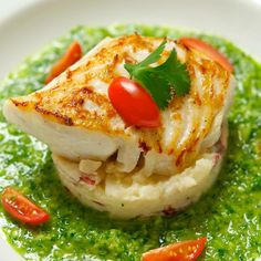 Seared Fish with Green Gazpacho Sauce - #seafood, #sauce, #recipe
