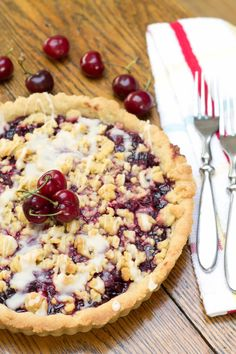 This Cherry Vanilla Shortbread Tart recipe makes a stunning summer dessert that's packed with cherries and vanilla in every luscious bite! Cherry Recipes, Tart Recipes, Sweet Recipes, Baking Recipes, Cod Recipes, Cabbage Recipes, Fudge Recipes, Cream Recipes, Turkey Recipes