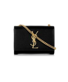 Monogramme black logo leather bag by SAINT LAURENT on secretsales.com