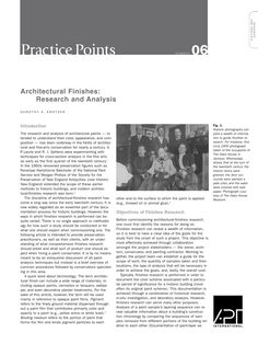 "APT Bulletin - Practice Point  No. 6 ""Architectural Finishes: Research and Analysis"" By: Dorothy S. Krotzer"