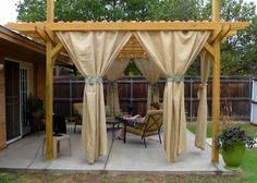 burlap curtains for the outdoor patio..how to.