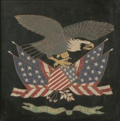Export patriotic silk embroidered eagle atop American flag and shield, the banner below stitched with the phrase E Pluribus Unum; silk and metallic threads on a silk ground, the figure of the eagle raised and stuffed. China or Japan, circa 21 Wool Applique, Applique Quilts, American Quilt, American Flag, Patriotic Pictures, Patriotic Quilts, American Spirit, Penny Rugs, Flash Art