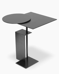 Eric Schmitt Side table Pierre EDITION OF 30 NUMBERED PIECES Bended and patinated steel, sliding tray  Available on Kolkhoze.fr International shipping
