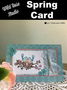 Make a handmade spring card using stamps from Wild Rose Studio. Cricut Cards, Stampin Up Cards, Crafts For Teens, Crafts To Make, Handmade Birthday Cards, Handmade Cards, Handmade Items, Card Making Tutorials, Animal Cards