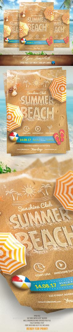 Summer Beach Flyer Template #design Download: http://graphicriver.net/item/summer-beach-flyer-template/11400273?ref=ksioks