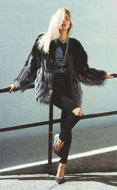 Black Faux Fur Coat #Peace Love Shea