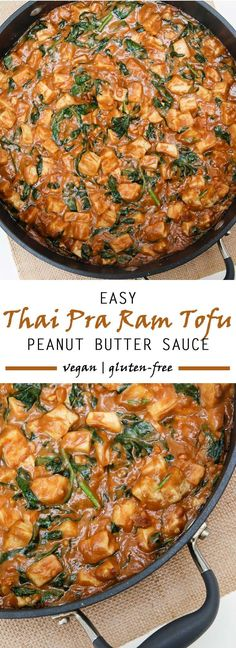 Creamy peanut sauce coats this Thai Pra Ram Tofu and spinach creating a delicious, simple dinner ready in less than 20 minutes.