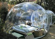 Inflatable tent, perfect for a rainy night or star gazing, SO COOL!!