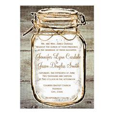 Mason Jar Barn Wood Rustic Wedding Invitations  #SOLD on #Zazzle