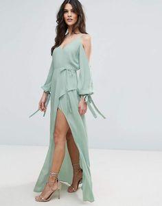 0c3df4ba145b ASOS Cold Shoulder Long Sleeve Maxi Dress Asos Long Dresses, Mint Maxi  Dresses, Asos