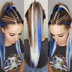 Image may contain: 2 people Box Braids Hairstyles, Pretty Hairstyles, Short Green Hair, Rave Hair, Festival Hair, Braids For Long Hair, Mermaid Hair, Cool Hair Color, Braid Styles