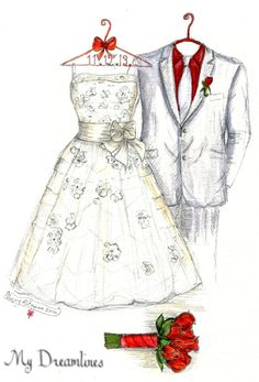 Wedding Dress Sketch  One Year Anniversary Gift  by Dreamlines