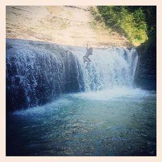 "Summer bucket list item Number 14: ""Find a water hole -> jump in."" Had to hike 5 hours to find this gem, but we made it! #summerbucketlist #summerdays #summerlife #summer #zoarvalley #pointpeterroad #valentineroad #waterfalls #waterhole #justjump"