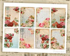 Digital Collage Sheet Greeting Cards Digital by FrezeArt on Etsy