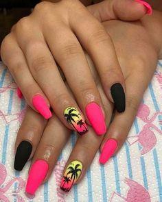 Neon Acrylic Nails, Halloween Acrylic Nails, Almond Acrylic Nails, Neon Nails, Pink Nails, Summer Nails Neon, Coffin Nails Designs Summer, Neon Nail Designs, Acrylic Nail Designs