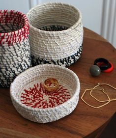 The Red Thread Blog has instructions for rope coil vessels which are lovely for catching lots of little things that end up on one's desk.
