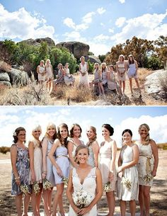 Bridesmaids and bride out in the middle of nowhere