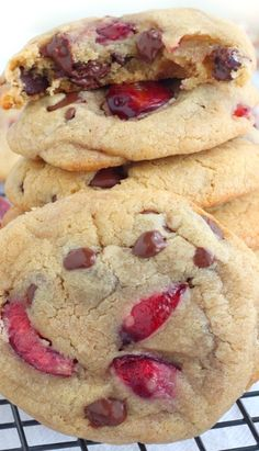 Soft Chewy Cherry Chocolate Chip Cookies, with white chips and blueberries too?!
