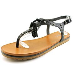 MIA Women's Yelena Black Sandal. Add these simply striking sandals to all your island-inspired ensembles!. Supple man-made upper with tassels and metal rivets. Thong construction. Adjustable buckled heel strap. Lightly padded leather insole and lining. Sturdy synthetic sole with treading. Imported. Measurements: Weight: 12 oz Product measurements were taken using size 9, width M. Please note that measurements may vary by size.