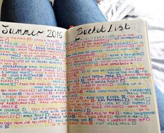 Colourful Summer Bucket List from my bullet journal. See this Instagram photo by…