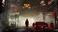 Cyberpunk art, Blade Runner --- Green Light, by Jacob Charles Dietz (deviantart here: http://jacobcharlesdietz.deviantart.com/art/Green-Light-273479856 )