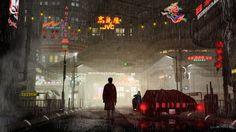 Cyberpunk art, Blade Runner --- Green Light, by Jacob Charles Dietz (deviantart here: http://jacobcharlesdietz.deviantart.com/art/Green-Light-273479856 )