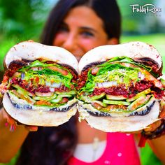 "#tbt: Epic SUPERSIZED FullyRaw Vegan Burgers! http://youtu.be/hAiX6rMHxuQ 😍 Check out the inside view of this awesomeness...it's layered with the works! Meat-free, dairy-free, and gluten-free, this burger actually does your body GOOD!👌 Rich flavors + colorful layers = out of this world taste! Can you say, ""WHATABURGER?!?"" New YouTube video recipe here: http://youtu.be/hAiX6rMHxuQ"