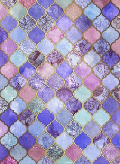 Royal Purple, Mauve & Indigo Decorative Moroccan Tile Pattern Art Print by Micklyn | Society6
