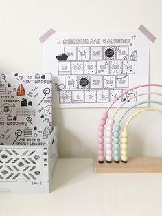 Gratis printable aftelkalender Sinterklaas 2020 - zorg voor duidelijkheid voor je kind Easy Peasy, Rondom, Inspiration, Drawings, Dutch, Diy, School, Everything, Biblical Inspiration
