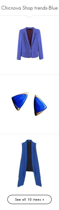"""Chicnova Shop trends-Blue"" by chicnova ❤ liked on Polyvore featuring outerwear, jackets, blazers, chicnova, blue jackets, slim fit blazer, long sleeve jacket, slim fit blue blazer, shrug cardigan and jewelry"