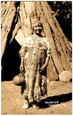 """MONO LAKE PAIUTE Maggie """"Tabucce"""" Howard, Yosemite Valley, California, c.1930. Full blooded Paiute, she was the daughter of Medicine Man Joaquin Sam. She was born in 1870, passed away in 1947. Real Photo Postcard edited c.1925-1940s."""
