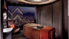 Treatment rooms at the Ritz-Carlton Hong Kong's Spa by ESPA are 1,624 feet above the city.