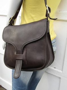 fd44322a95 Vintage Coach Bag    Leather Courier Pouch Saddle Bag in Brown