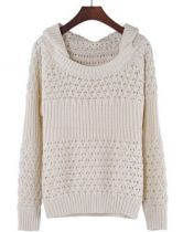 White Hooded Long Sleeve Hollow Chunky Sweater US$32.13
