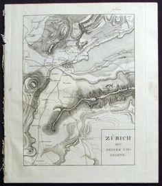 1825 Neujahrsblatt with Map of ZÜRICH & aquatinta of Siege of Rapperswil (1351)