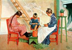 Shelling Peas-(I did this a lot as a child) - 1908-Carl Larsson (1853 – 1919, Swedish)